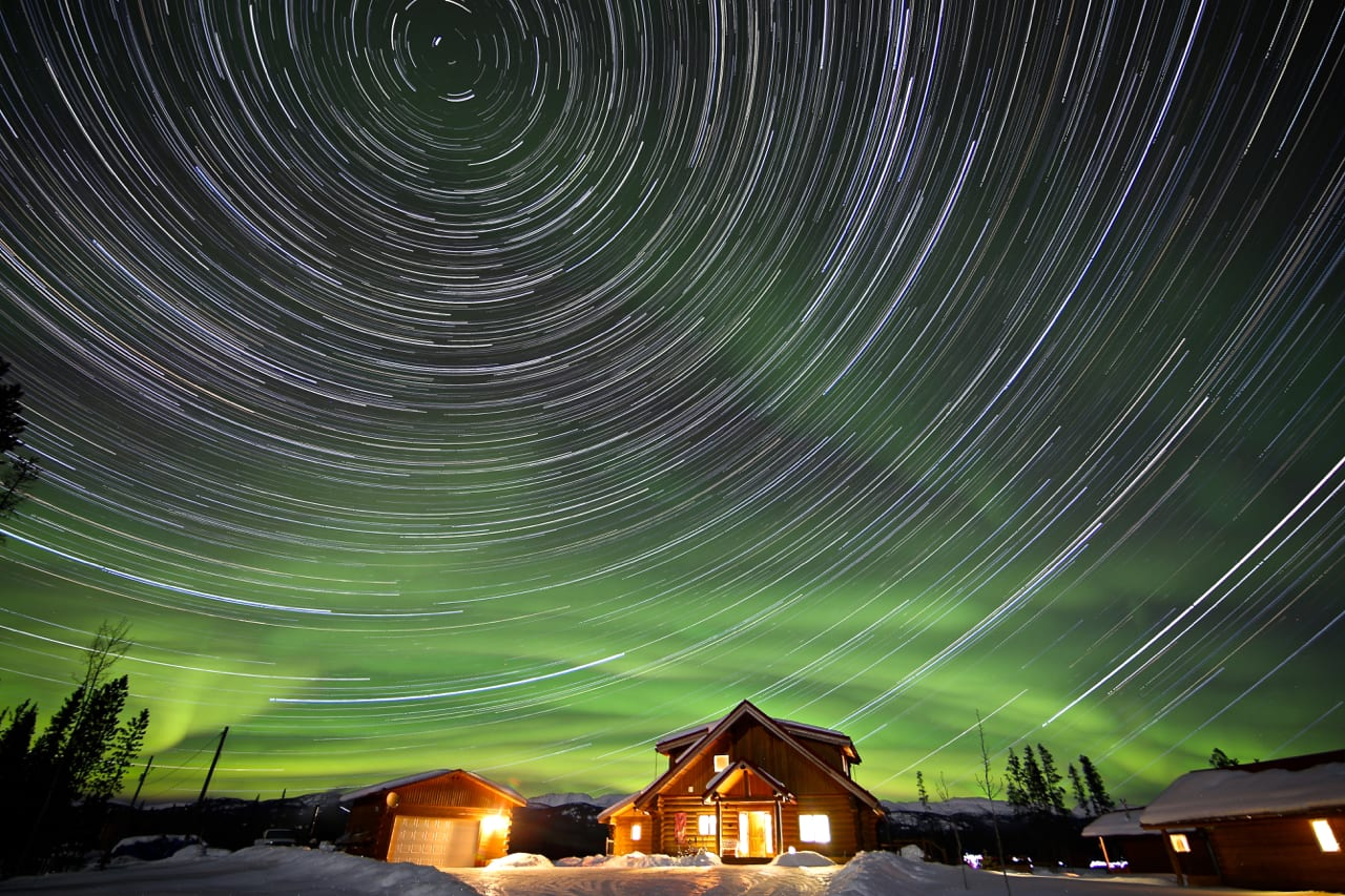 Star trail over Northern Lights Resort & SPA